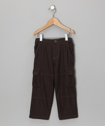 Brown Flannel Cargo Pants - Boys