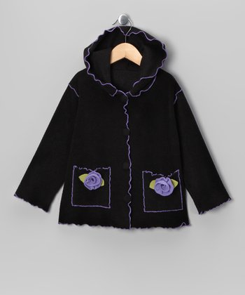 Black Rosette Pocket Jacket - Girls