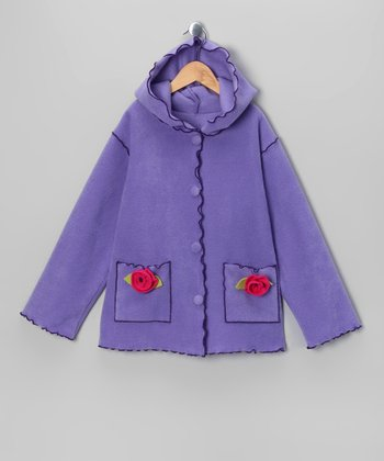 Lavender Rosette Pocket Jacket - Girls