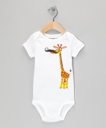 White Giraffe Stache Bodysuit - Infant