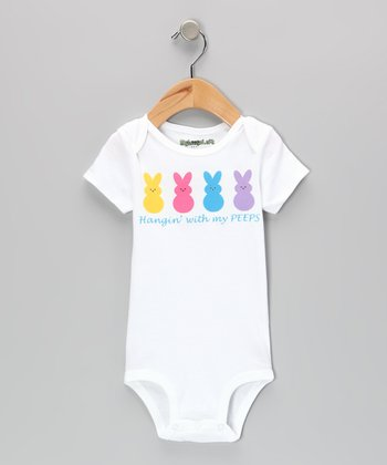 MyLucysLoft White 'Hangin' With My Peeps' Bodysuit - Infant