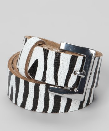My Baby Belts Zebra Distressed Leather Belt