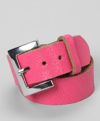 My Baby Belts Pink Distressed Leather Belt