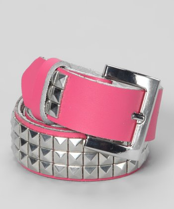 My Baby Belts Pink & Silver Studded Leather Belt
