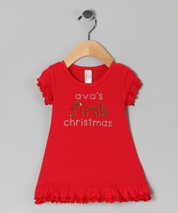 Red 'First Christmas' Personalized Ruffle Dress - Infant
