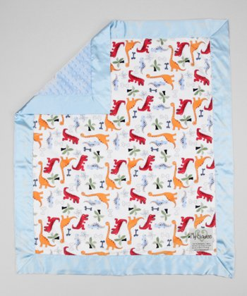 White & Light Blue Dino Bone Stroller Blanket