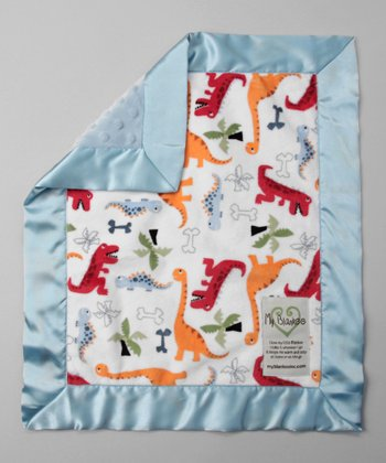 White & Light Blue Dino Bone Security Blanket
