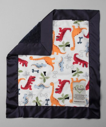 White & Navy Dino Bone Security Blanket