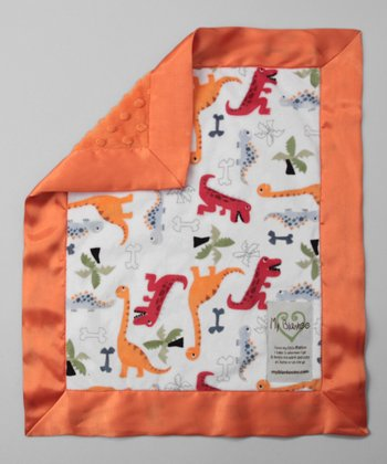 White & Orange Dino Bone Security Blanket