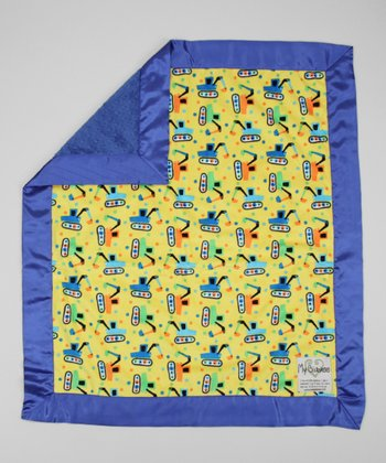 Yellow & Electric Blue Tractor Stroller Blanket