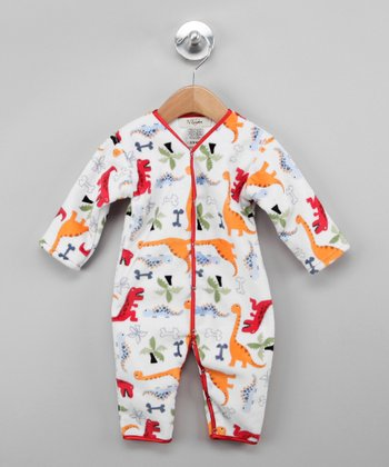 White & Red Green Dino Bone Playsuit - Infant