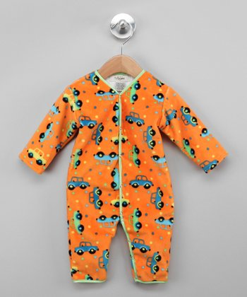Orange & Lime Green Car Playsuit - Infant