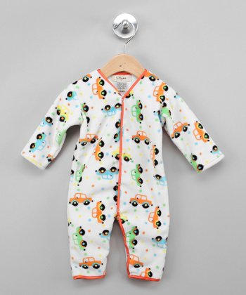 White & Orange Car Playsuit - Infant