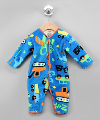 Blue & Orange Toy Chest Playsuit - Infant