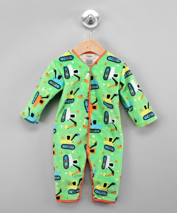 Lime Green & Orange Tractor Playsuit - Infant