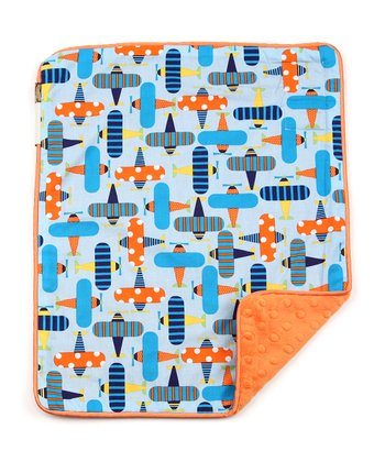 Blue Airplane & Orange Velour Dot Security Blanket