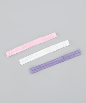Light Pink, White & Lavender Satin Headband Set