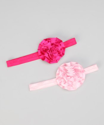 Hot Pink & Light Pink Satin Flower Headband Set