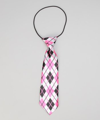 Black & Pink Plaid Satin Tie