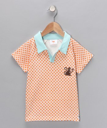 White & Orange Monkey Organic Polo - Toddler