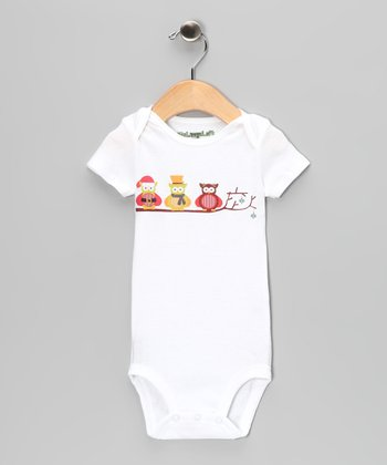 White Three Owl Bodysuit - Infant