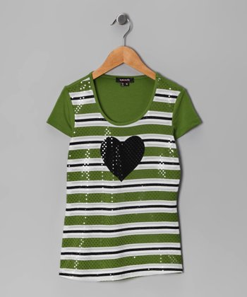 Green Stripe Heart Top - Girls