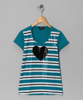 Teal Stripe Heart Top