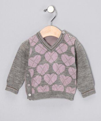 Pink & Gray Heart Sweater - Infant