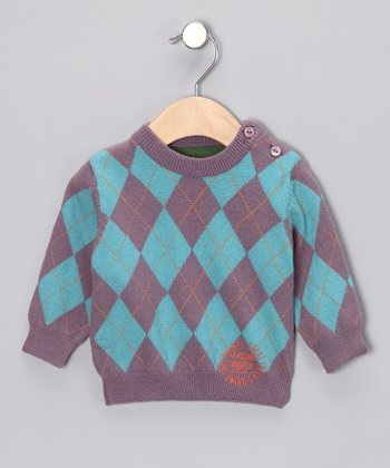 Mauve & Blue Argyle Sweater - Infant