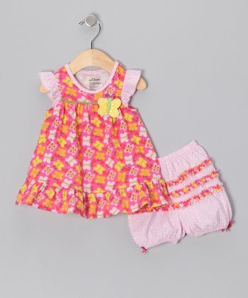 Pink Flutterby Organic Dress & Bloomers - Infant