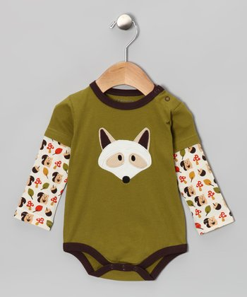 Green Raccoon Organic Layered Bodysuit - Infant