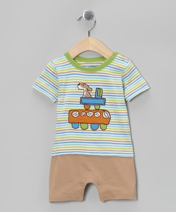 Green Stripe Train Organic Romper - Infant