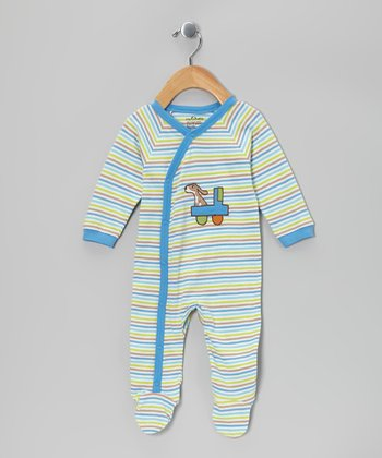 Blue Truck Stripe Organic Footie - Infant