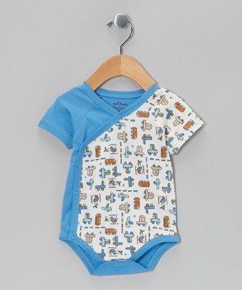 Blue Mini Motor Organic Wrap Bodysuit - Infant