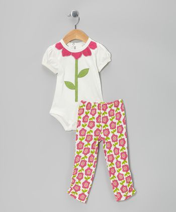 White & Pink Floral Organic Bodysuit & Leggings - Infant