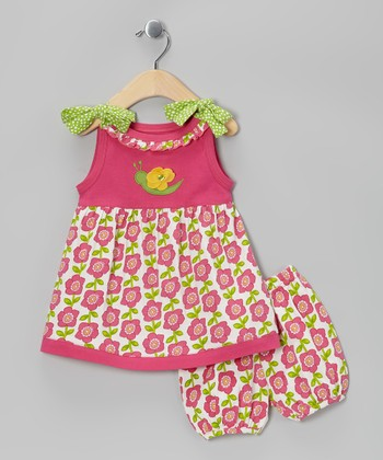 Pink Floral Organic Dress & Bloomers - Infant
