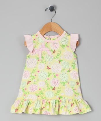 Yellow Floral Ruffle Organic Swing Dress - Toddler