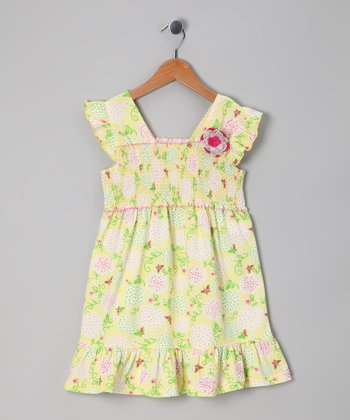 Yellow Shirred Organic Dress - Toddler