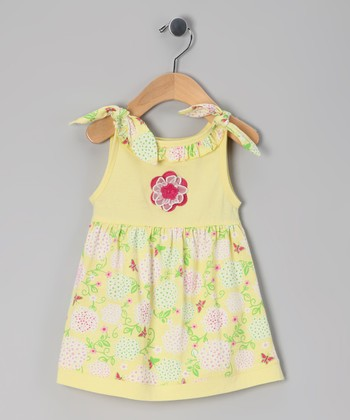 Yellow Floral Knot Organic Dress - Toddler