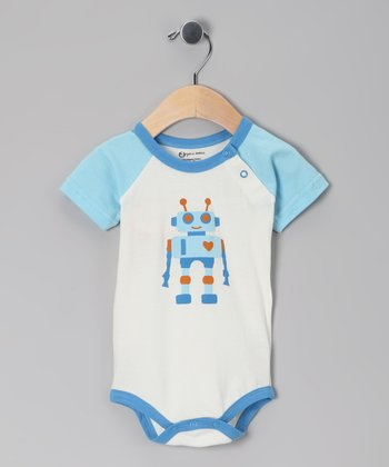 Light Blue Robot Organic Bodysuit - Infant