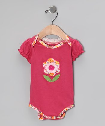 Pink Flower Organic Bodysuit - Infant