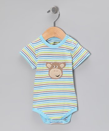 Blue Stripe Monkey Organic Bodysuit - Infant