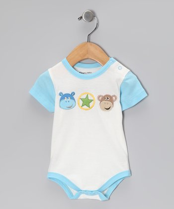 White & Blue Organic Bodysuit - Infant