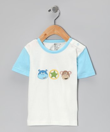 White & Blue Organic Tee - Toddler