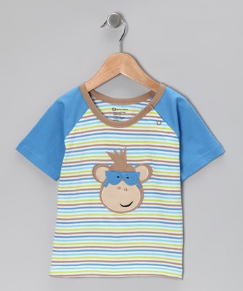 Blue Stripe Monkey Organic Tee - Toddler