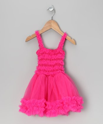 Fuchsia Tulle Ruffle Dress - Toddler & Girls
