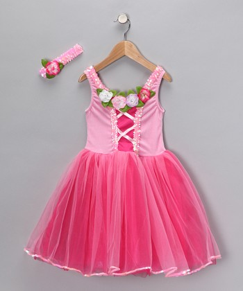 Fuchsia Dress & Headband - Girls