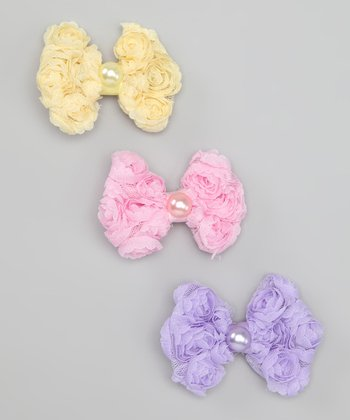 Pink, Purple & Yellow Bow Clip Set