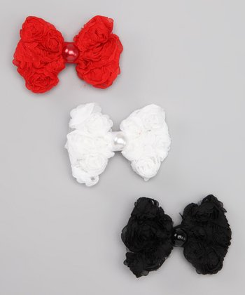 Red, White & Black Bow Clip Set