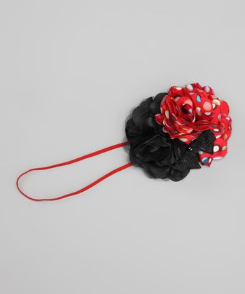 Red & Black Sequin Bow Headband